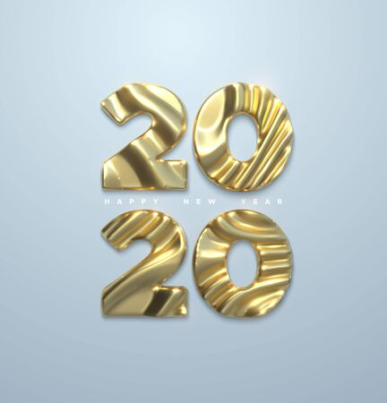 Happy New 2020 Year. Vector 3d illustration. Holiday NYE event sign. Golden metal characters 2020 with wavy sculpted pattern isolated on white. Festive banner or poster design Illusztráció