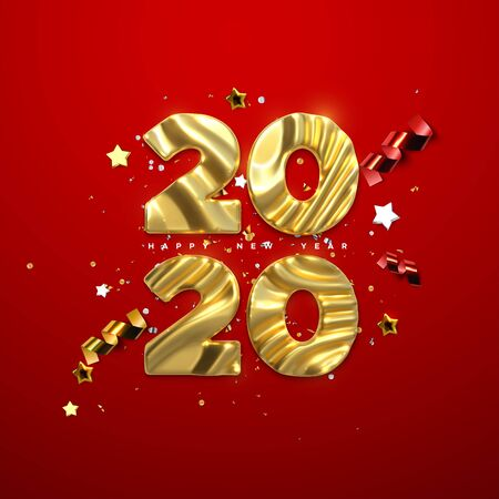 Realistic 2020 golden numbers and festive confetti, stars and ribbons on red background. Vector holiday illustration. Happy New 2020 Year. New year ornament. Decoration element with tinsel