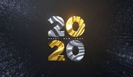 Happy New Year 2020. Holiday NYE event sign. Vector 3d illustration. Golden and silver characters 2020 with wavy sculpted pattern. Bursting background. Backdrop with glitters. Festive banner design Illusztráció