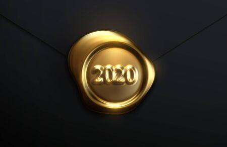 Bonne année 2020. Illustration vectorielle de vacances de sceau de cire dorée avec numéros 2020. Signe 3d réaliste sur fond de papier noir. Conception d'éléments d'affiches ou de bannières festives Vecteurs