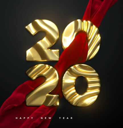 Happy New Year 2020. Holiday NYE event sign. Vector 3d illustration. Golden characters 2020 with wavy silky red fabric. Abstract background. Festive banner or poster design