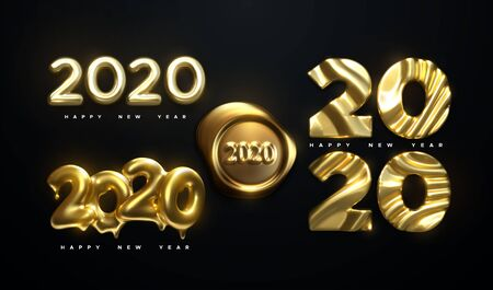 Happy New Year 2020. Holiday vector illustration. Golden realistic sign set with 2020 numbers. Realistic 3d labels isolated on black background. Festive poster or banner element design