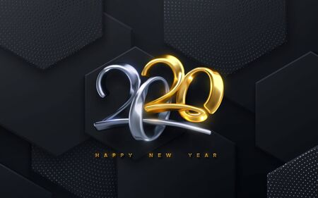 Bended numbers 2020. Holiday vector illustration. Golden and silver metallic characters. Modern 3d calligraphy on black hexagonal tiles background. Happy New 2020 Year. Festive banner or sign design. Ilustração