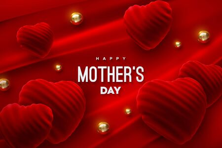 Happy Mothers Day. Red velvet heart shapes with golden beads on red fabric background. Vector holiday illustration. Mother day festive event banner. Poster design. Realistic 3d decoration