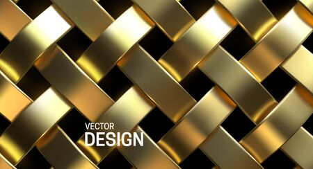 Golden wicker pattern. Vector 3d realistic illustration. Luxury woven texture. Metallic weave ribbons. Abstract jewelry background. Gold metal ornament. Interlacing surface. Decoration for design