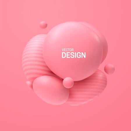 Abstract composition with 3d spheres cluster. Colorful glossy bubbles. Vector realistic illustration of pink soft balls. Trendy banner or poster design. Futuristic background Illusztráció