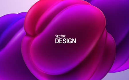 Glossy soft shapes. Abstract 3d background. Vector realistic illustration. Purple and violet squeezed balls or bubbles. Vibrant decoration. Organic gradient structure. Modern cover design. Banner template