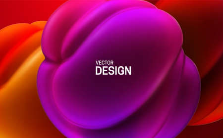 Glossy soft shapes. Abstract 3d background. Vector realistic illustration. Purple and red squeezed bubbles. Vibrant decoration. Organic gradient structure. Modern cover design. Banner template Vettoriali