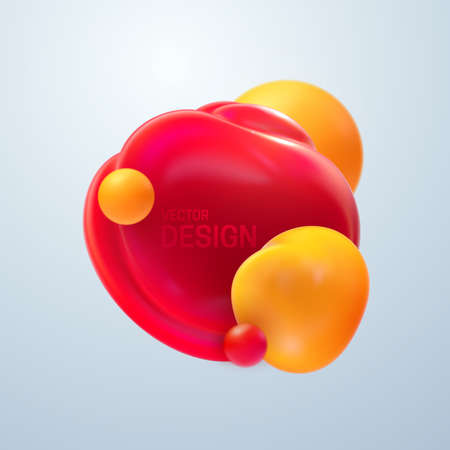 Abstract composition with 3d soft body cluster. Colorful translucent bubbles. Vector realistic illustration of yellow and red balls. Trendy banner or poster design. Futuristic background with spheres Illustration