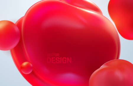 Abstract background with dynamic 3d bubbles. Red translucent bubbles. Vector illustration of glossy soft balls. Modern trendy banner or poster design. Colorful cover template Vettoriali