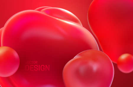 Abstract background with dynamic 3d bubbles. Red translucent bubbles. Vector illustration of glossy soft shapes. Modern trendy banner or poster design. Colorful minimalist cover template