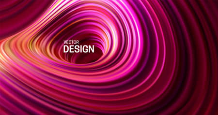 Purple striped surface. Liquid flowing shape. Vector 3d illustration. Abstract colorful background. Vibrant gradient stream. Fluid paint wallpaper. Modern cover design Ilustrace