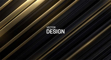 Black and golden sliced surface. Abstract geometric background. Vector illustration. Random layers pattern. Striped texture. Futuristic elegant decoration. Luxury banner or cover design