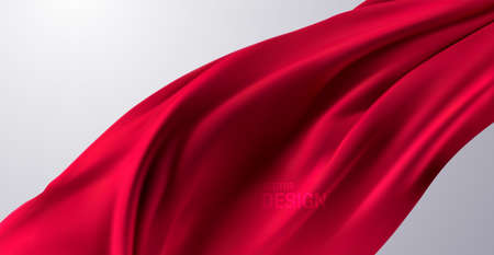 Red silk fabric. Vector 3d illustration. Flowing red textile. Realistic wrinkled curtain or flag. Abstract background. Decoration element for design
