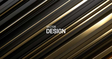 Black and golden layered surface. Abstract geometric background. Vector illustration. Random layers pattern. Striped texture. Futuristic elegant decoration. Diagonal slices. Banner or cover design. Stockfoto - 151047377