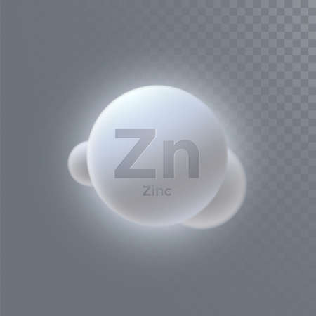 Zinc mineral icon isolated on transparent background. Vector 3d illustration. Diet supplement. Medical or pharmacy concept. Infographic element Vektorgrafik