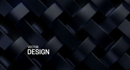 Black weave pattern. Vector 3d realistic illustration. Luxury woven texture. Metallic weave ribbons. Abstract blacksmith background. Steel metal ornament. Interlacing surface. Decoration for design