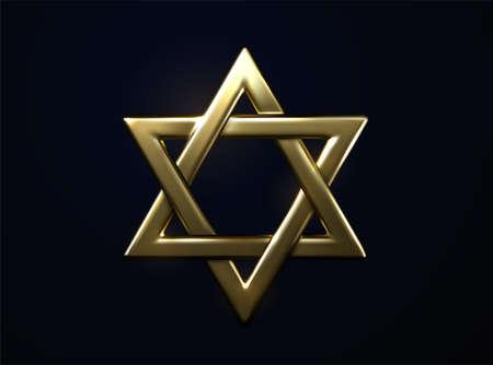 Star of David golden sign. Vector 3d illustration. Judaism religious symbol. Jewish culture sign. Metallic hexagram. Golden frame. Sacred geometry. Israel emblem