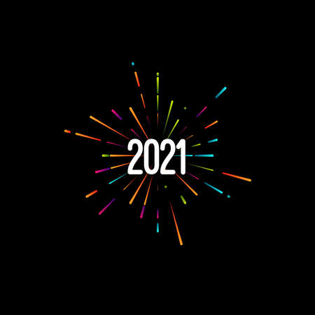 Happy New 2021 Year. Holiday vector illustration with festive typographic composition. New Year 2021 Label With Graphic Multicolored Firework Shape. Happy NYE  Design