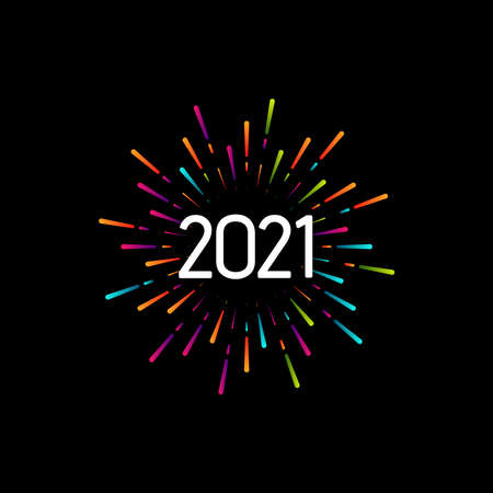 Happy New 2021 Year. Holiday vector illustration with festive typographic composition. Colorful label with 2021 numbers and graphic multicolored fireworks shape. Happy NYE  Design Illusztráció