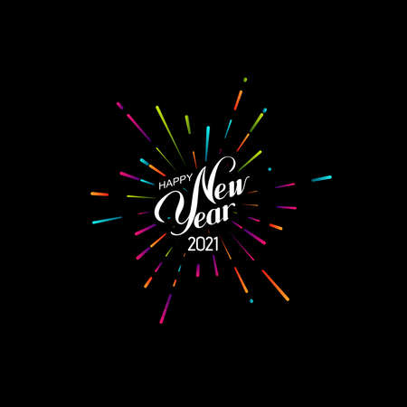 Happy 2021 New Year. Holiday Vector Illustration With Lettering Composition And Bursting Fireworks shape.