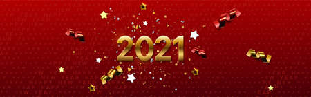 Happy New 2021 Year. Vector holiday illustration. Festive banner concept. Red background with golden typography halftone pattern and sparkling tinsel. Greeting card or party invitation sign template