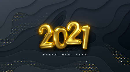 Happy New 2021 Year. Vector holiday illustration. Golden numbers on black wavy paper shapes background textured with glittering particles. Layered papercut decoration. Festive banner template