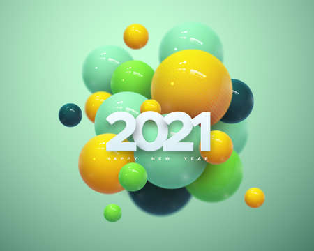 Happy New 2021 Year. Holiday vector illustration of white paper numbers 2021 and abstract colorful balls or bubbles. 3d sign. Festive poster or banner design. NYE party invitation Illusztráció
