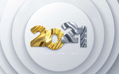 Happy New Year 2021. Holiday NYE event sign. Vector 3d illustration. Golden and silver characters 2021 with wavy sculpted pattern. White papercut background. Paper backdrop. Festive banner design Illusztráció