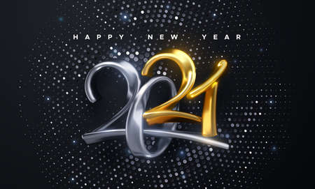 Happy New 2021 Year. Holiday vector illustration of golden and silver calligraphic numbers 2021. Festive poster or banner design. Modern 3d lettering on black background. Ilustração