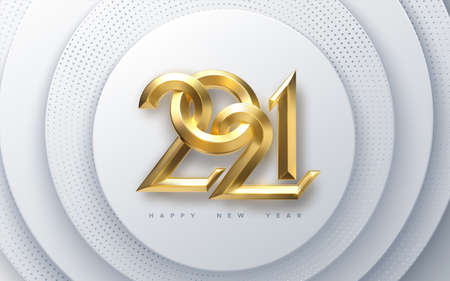 Happy New 2021 Year. Holiday vector illustration of golden metallic calligraphy numbers 2021 on white paper cut background. Realistic 3d sign. Festive poster. 向量圖像