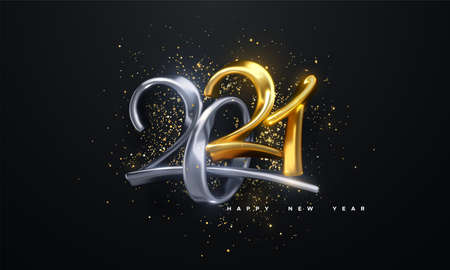 Jewelry 2021 numbers. Happy New 2021 Year. Holiday vector illustration of golden and silver calligraphic characters and confetti particles. Realistic 3d sign.