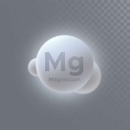 Magnesium mineral icon isolated on transparent background. Vector 3d illustration. Diet supplement. Iron microelement. Medical or pharmacy concept. Infographic element with Mg sign