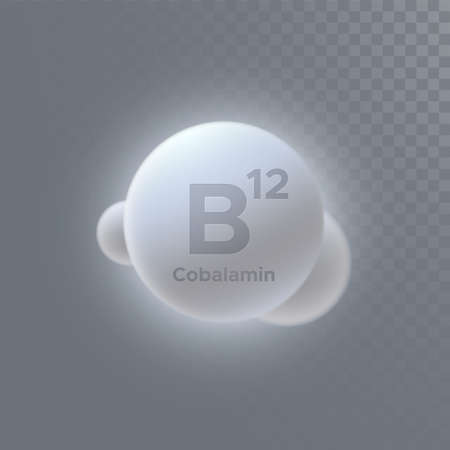 Vitamin B12 or cobalamin icon isolated on transparent background. Vector 3d illustration. Dietary supplement. Medical or pharmacy concept. Infographic element with B12 sign Vetores
