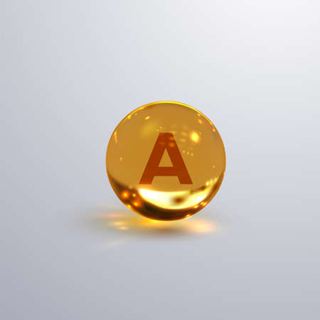 Vitamin A or retinol icon isolated on transparent background. Vector 3d illustration. Dietary supplement. Medical or pharmacy concept. Infographic element with A sign