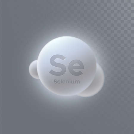 Selenium mineral icon isolated on transparent background. Vector 3d illustration. Diet supplement. Medical or pharmacy concept. Infographic element with Se sign