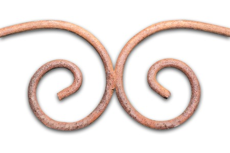 Twisted brown architecture forged isolated element of fence in the garden. Isolate. Clipping path included. Pattern