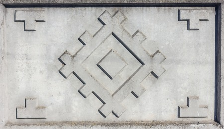 Concrete fence pattern as squares in large rombus. The wall. Tracery
