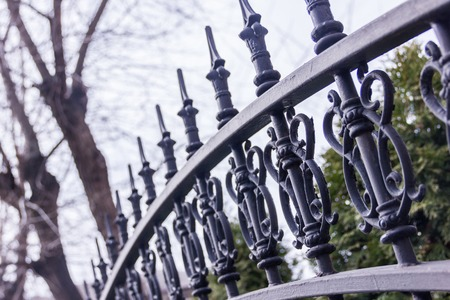 Black metallic forged fence with spikes. Garden