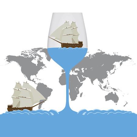 Flat design ship in a glass 向量圖像