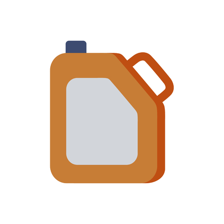 benzin: Canister, funnel, fuel icon. Metal canister of gasoline cartoon flat  canister illustration