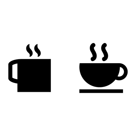 website buttons: Two icons stylized cup tea and coffee with long shadow. Illustration