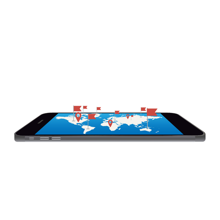 World map on phone screen,vector