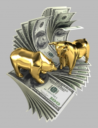 The image of the bull and the bear made of gold on a background of dollar bank notes  photo