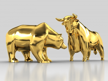 share market: The image of the bull and the bear made of gold on a gray background with reflection Stock Photo
