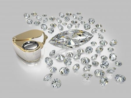 facet: Brilliants of the various size, geometry and various facet, jewelry magnifying glass on a grey background with reflection