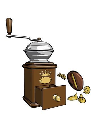 macinino caffè: Brown in legno macinino da caff� Carattere - il chicco di caff� sta esaminando il cassetto aperto Vettoriali