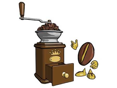 processed grains: Brown wooden coffee grinder  Character - the coffee bean is looking at a lot of grain loaded into the grinder  Illustration