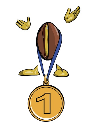 processed: Character - the coffee bean  With the gold medal on a blue ribbon