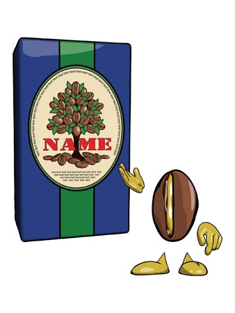 processed grains: Character-coffee bean points to a blue container with the original label Illustration